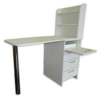 OKIRO, Маникюрный стол с тумбой на 3 полки, выдвижной полочкой, белый