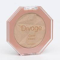 Хайлайтер для лица компактный Glow Vibes Divage № 01 светлый бежево-жемчужный