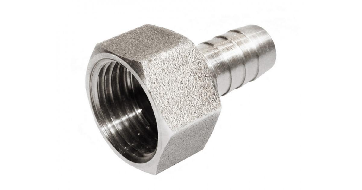 Переходник латунный никелированный 1/2мама-штуцер 10 мм