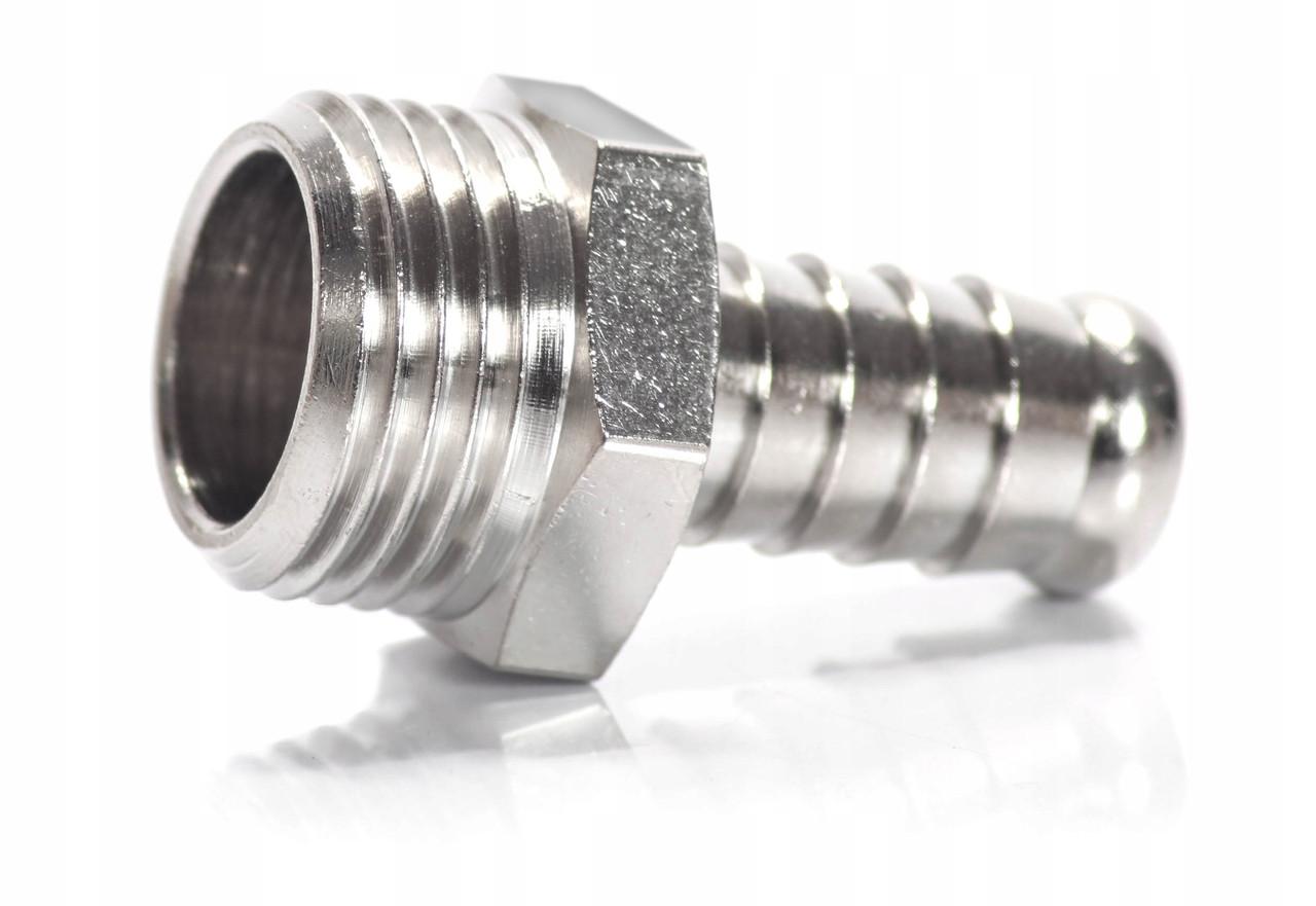 Переходник латунный никелированный 1/2 (папа) - штуцер 10 мм.