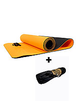 Коврики для йоги ART.FiT (61х183х0.6 см) TPE, с чехлом, цвета в ассортименте оранжево-черный