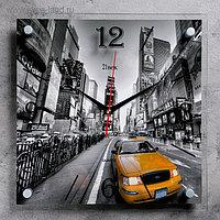 """Часы настенные, серия: Транспорт, """"Желтое такси"""", 35х35 см, микс"""