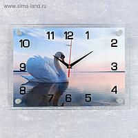 """Часы настенные, серия: Животный мир, """"Лебедь на пруду"""", 25х35 см, микс"""