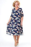 Женское осеннее шифоновое синее большого размера платье Algranda by Новелла Шарм А3791 60р.