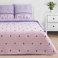 Постельное бельё «Этель» евро Violet love 200*217 см, 240*220 см, 70*70 см - 2 шт