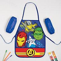 Набор детский для творчества 'Команда Мстители', (фартук 49х39 см и нарукавники)