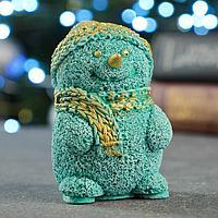 Статуэтка 'Снеговичок' бирюзовый с позолотой, 10х6х6 см