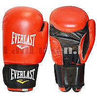 Боксерские перчатки 10-OZ Everlast Professional красные-черные с надписью