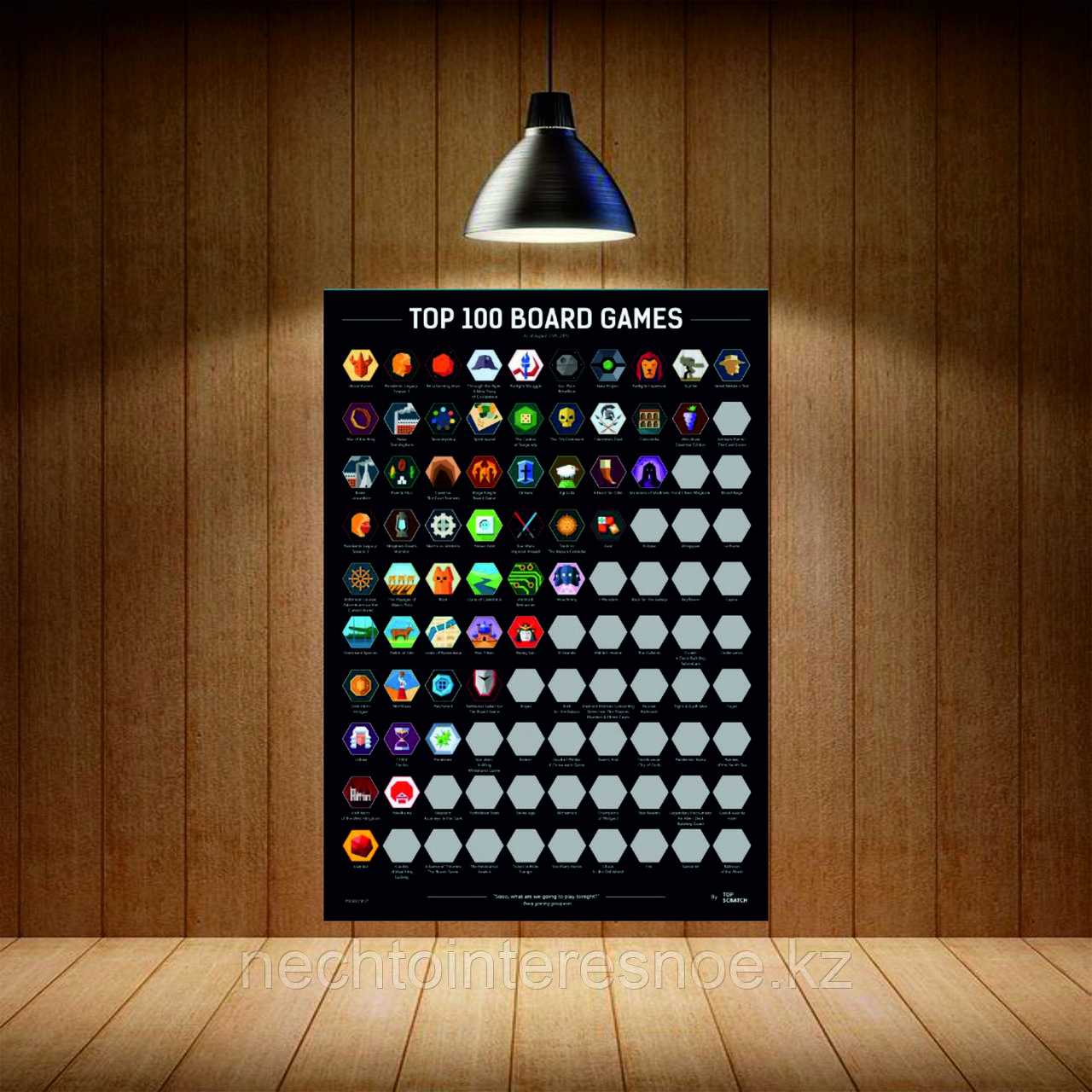 Скретч-Постер  Топ 100 Настольных Игр