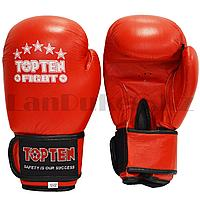 Боксерские перчатки  12-OZ Topten Fight красные-черные с надписью