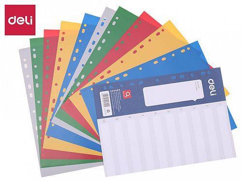 Разделитель пластиковый DELI, А4, 12 листов, цветной