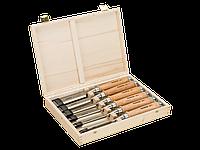 Набор стамесок с деревянной рукояткой в деревянной коробке, 6 шт. 425-083