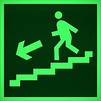 """ФЭС-24 Знак E 14 """"Направление к эвакуационному выходу по лестнице вниз (лев)"""" на фотолюминесцентной"""