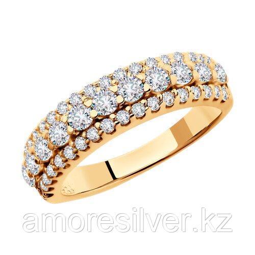 Кольцо SOKOLOV серебро с позолотой, фианит , дорожка 93010402 размеры - 16 16,5 17 17,5 18 18,5 19 19,5 - фото 1