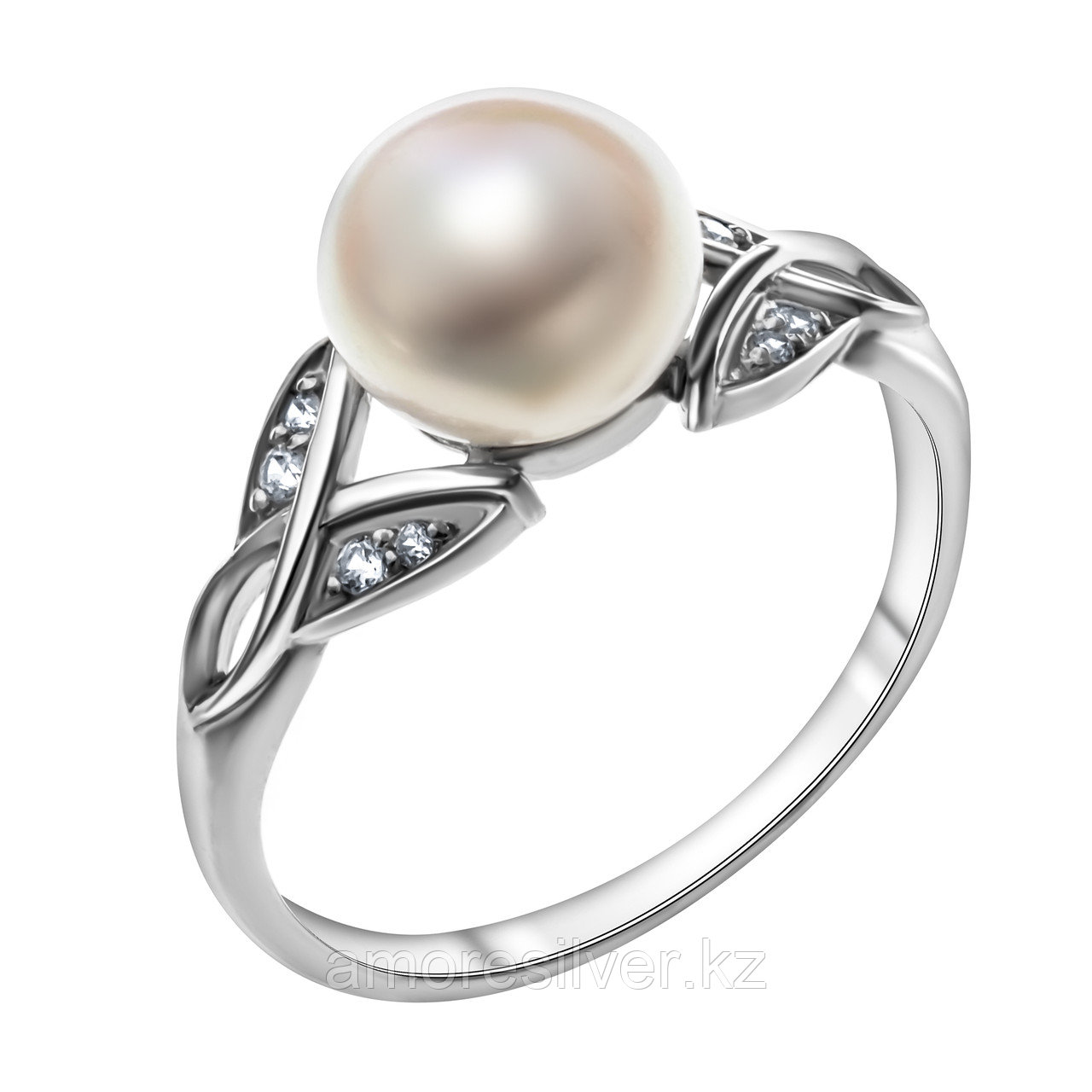 Кольцо TEOSA серебро с родием, жемчуг культ. фианит, фантазия 190-9-649Р размеры - 17,5