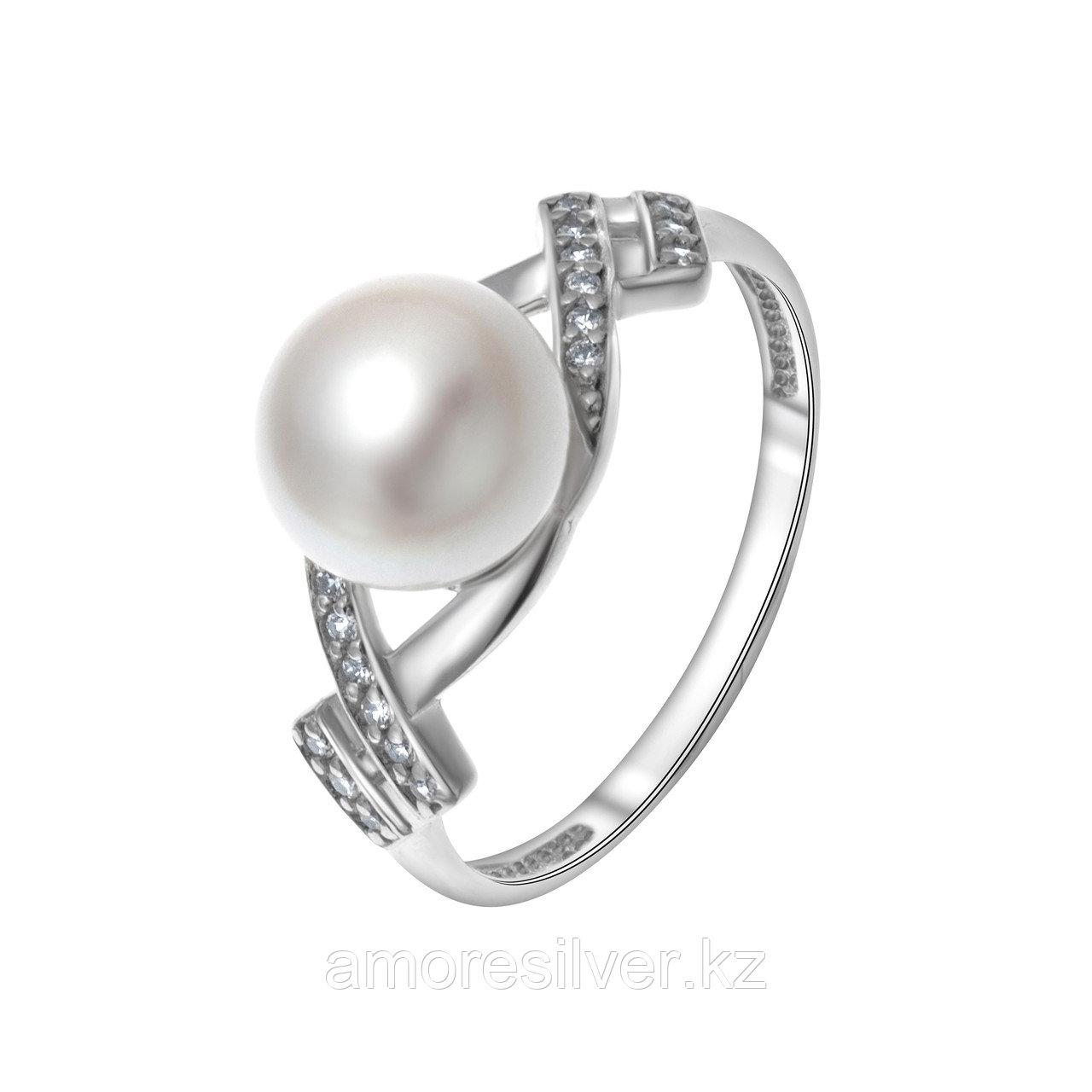 Кольцо TEOSA серебро с родием, жемчуг культ. фианит, ажурное 190-9-819Р размеры - 17,5