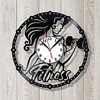 Настенные часы Женский фитнесс, подарок тренеру, 1758