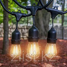 Белт-лайт гирлянды c лампочками для летних площадок, кафе 10 метров соеденяются