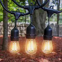 Белт-лайт гирлянды c лампочками для летних площадок, кафе 10 метров соеденяются до 10 км., фото 5