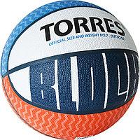 "Мяч баск. ""TORRES Block"" арт.B02077, р.7, резина, нейлон. корд, бут. камера, бело-сине-красный"