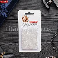 Резинки для волос силиконовые прозрачные маленькие 150 шт. TITANIA art.8065/B