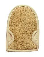 Мочалка банная массажная из луфы и хлопка в форме рукавицы 23,5х16,5 см. TITANIA art.7205