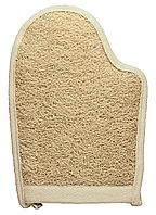 Мочалка банная массажная из луфы и хлопка в форме рукавицы 23,5х16,5см. TITANIA art.7255