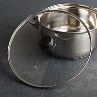 Крышка для сковороды и кастрюли стеклянная, d=30 см, с металлическим ободом, с прикручивающейся ручкой и