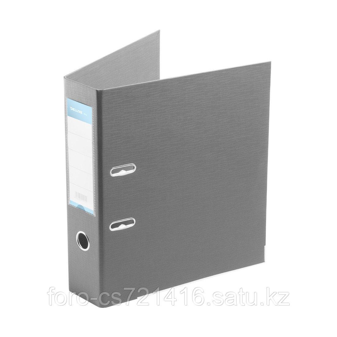 """Папка–регистратор Deluxe с арочным механизмом, Office 3-GY27 (3"""" GREY), А4, 70 мм, серый"""