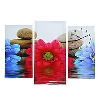 """Часы настенные, модульные, серия: Цветы, """"Цветы и камни"""", 60х80 см, микс"""