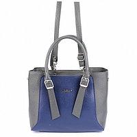 Сумка женская, наружный карман, плечевой ремень, синий/серый флотер