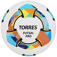 Мяч футзальный TORRES Futsal Pro, размер 4, 32 панели, Micro, 4 подслоя, ручная сшивка, цвет белый