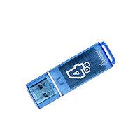 Флешка Smartbuy Glossy, 4 Гб, USB2.0, чт до 25 Мб/с, зап до 15 Мб/с, синяя