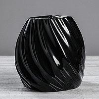 Ваза настольная 'Марелла', чёрная, керамика, 20 см