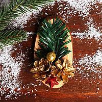 Новогодний декор 'Праздничный магнит' золотые шишки