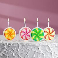 Набор свечей для торта на шпажках 'Леденец', 6,6х3,8 см, 25 гр, 4 шт