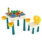 PITUSO  Стол для игры с конструктором, в компл. с конструктором(66эл)(47*47*46.5)+1 стул(24.5*42.5)