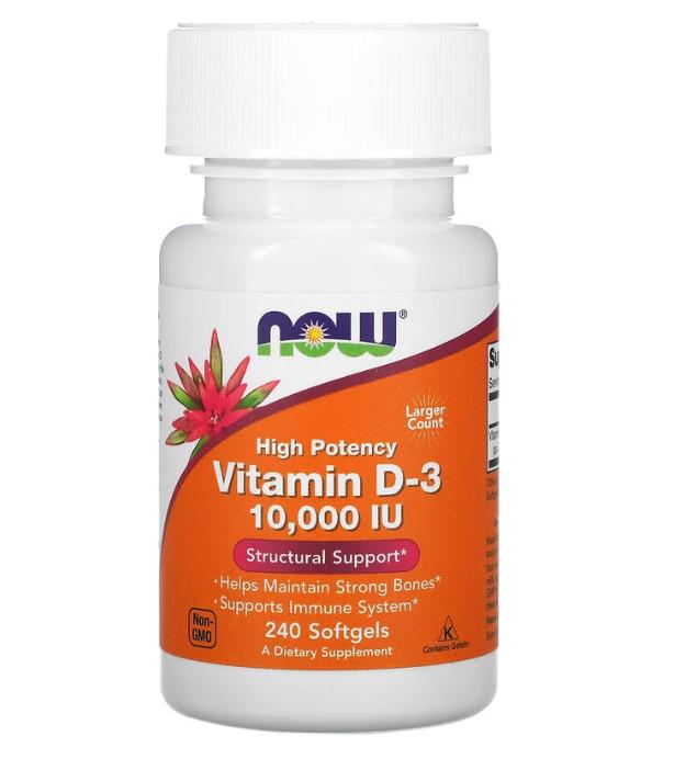 Now Foods, высокоактивный витамин D3, 250 мкг (10 000 МЕ), 240 капсул