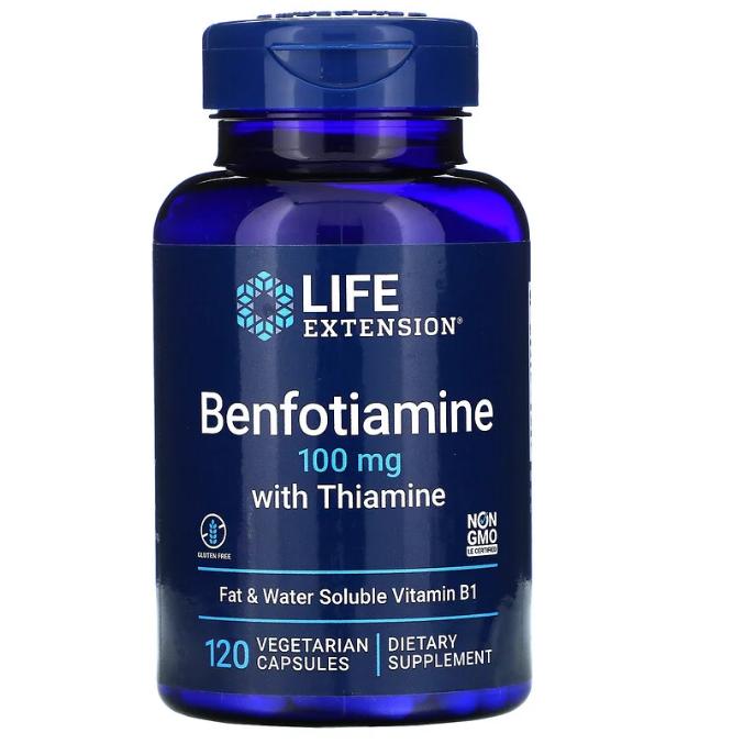 Life Extension, бенфотиамин с тиамином, 100 мг, 120 вегетарианских капсул