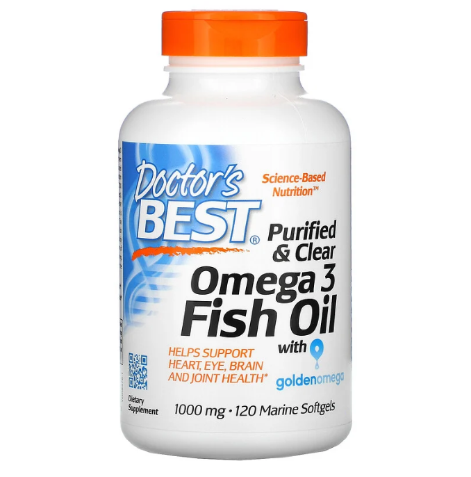 Doctor's Best, очищенный и прозрачный рыбий жир с омега-3, с добавлением Goldenomega, 1000 мг, 120 рыбно-желат
