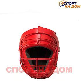 Шлем для каратэ TITLE с решёткой (красный-кожа) L
