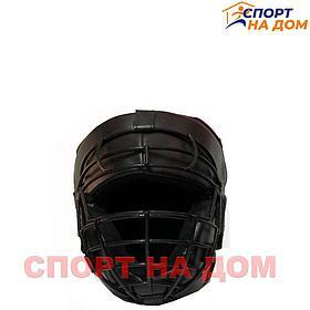 Шлем для каратэ TITLE с решёткой (чёрный-кожа) L