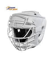 Шлем для каратэ TITLE с решёткой (белый-кожа) L