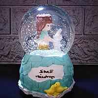 """Музыкальный снежный шар """"Девочка и Зайчик"""", 16см., фото 1"""