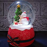 """Музыкальный снежный шар """"Снеговик и Оленёнок"""", 16см., фото 1"""