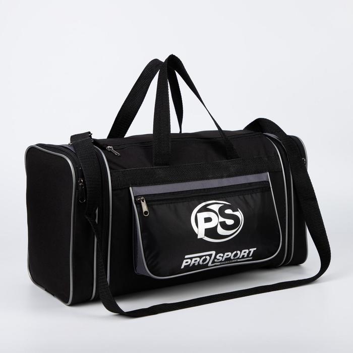 Сумка спортивная, отдел на молнии, 3 наружных кармана, длинный ремень, с увеличением, цвет чёрный/серый