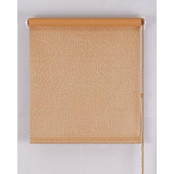 Рулонная штора Blackout, размер 80х160 см, имитация жаккарда «подсолнух», цвет кофе с молоком
