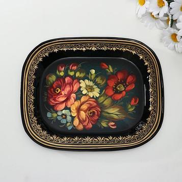 """Поднос жостовский """"Цветы"""", ровный, автор Хитров, 26х22 см, малый, прямоугольный"""