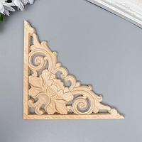 Заготовка для росписи дерево 'Декоративный элемент - Уголок с лотосом' JH26 15х15 см
