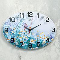 """Часы настенные """"Бабочка на полевых цветах"""", плавный ход"""